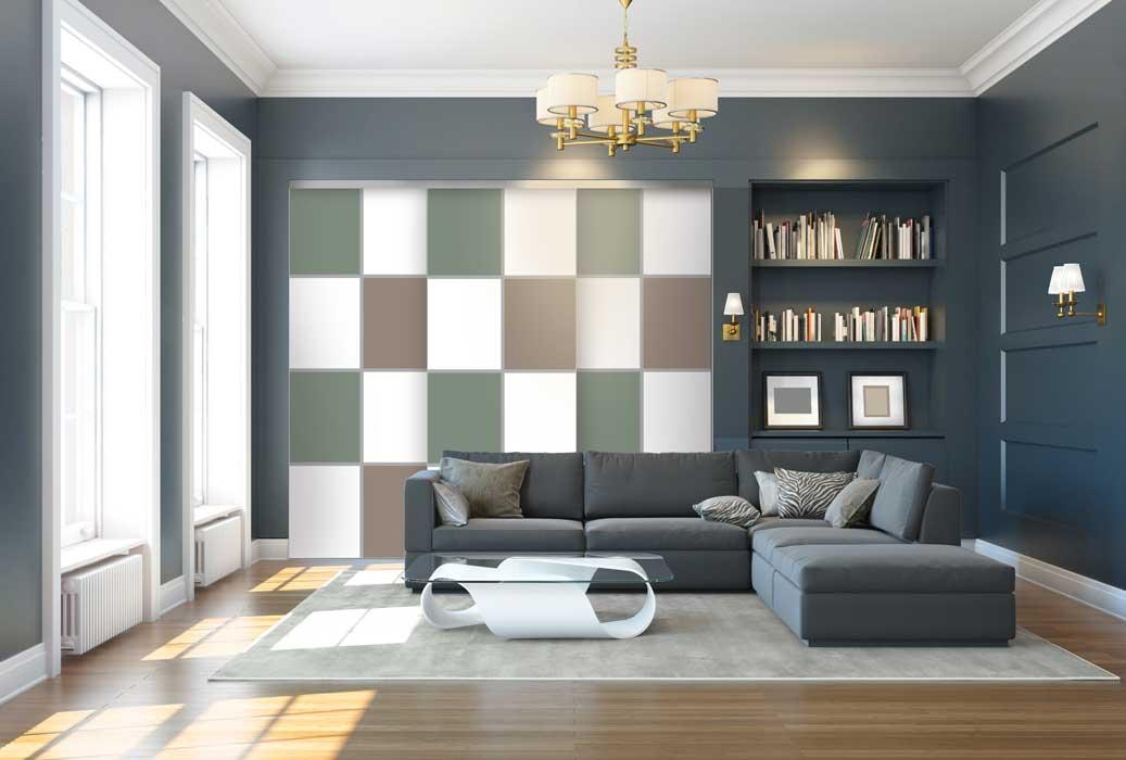 Collection Sillage - Modèle Quadro 2 brun, vert olive et blanc