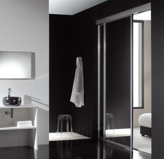 Séparation chambre salle de bain argent miroir